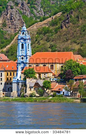 Durnstein Baroque Church On The River Danube (wachau Valley), Austria