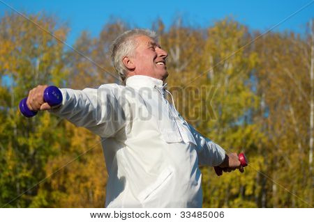 Old Man With Dumb Bells