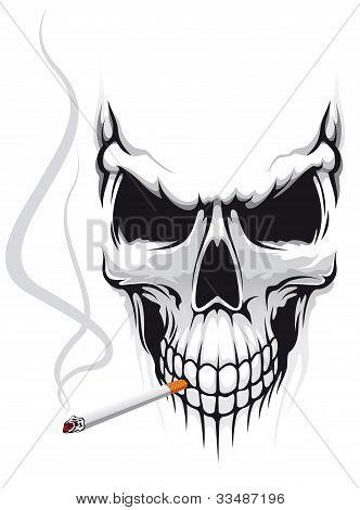 Calavera con cigarrillo