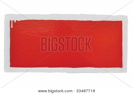 Red Hand-painted Prohibition Warning Sign Background, Horizontal Grunge White Frame Over Grey, Blank