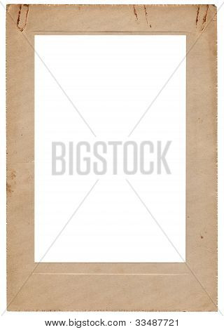 Aged Vintage Studio Portfolio Picture Photo Frame, Vertical Isolated Old Retro Beige Sepia Stained A