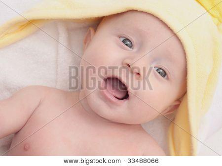 Sweet Child Under Yellow Towel