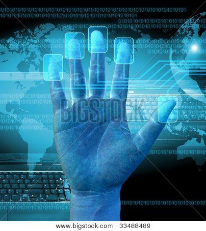 Kaufmann Scannen eines Fingers auf einen Touch-Screen-Oberfläche
