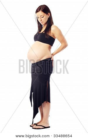 Beautiful Pregnant Woman Expecting Smiling