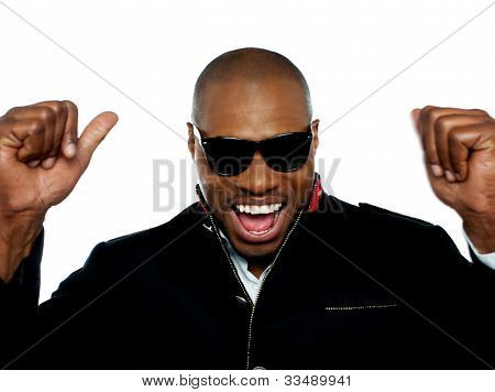 Portrait Of Excited Young African Man
