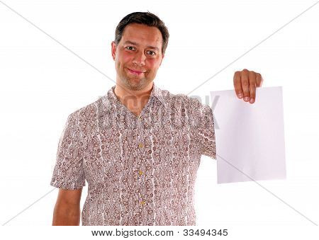 Man Holding Blank Piece Of Paper