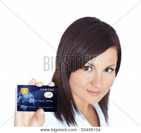 Woman Holding Credit Card Isolated Over White