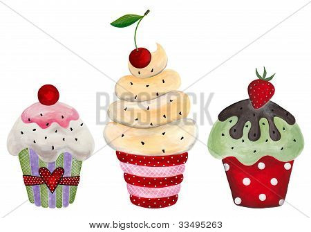 Set of cupcake.