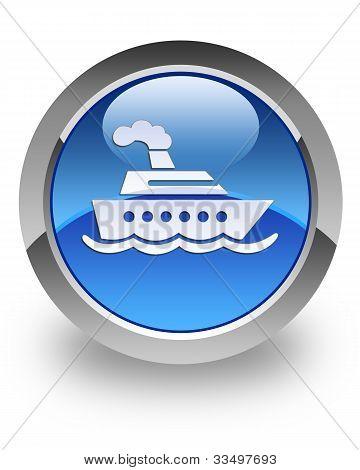 Cruise ship glossy icon