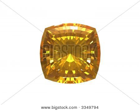 Citrine. Smooth Square Form.