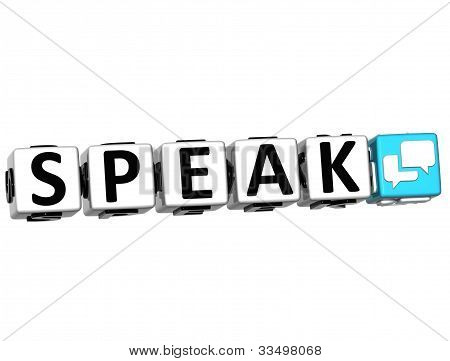 3D Speak Button Click Here Block Text
