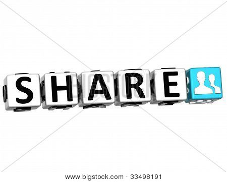 3D Share Button Click Here Block Text