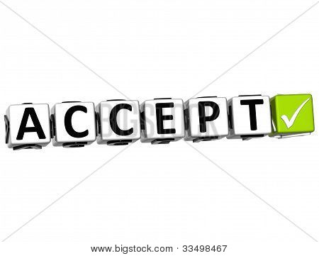3D Accept Button Click Here Block Text