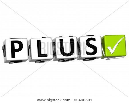 3D Plus Button Click Here Block Text
