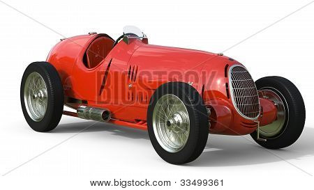 Front View Of A Red Old Race Car