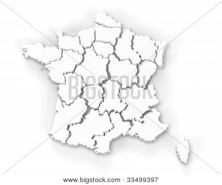 Map Of France Isolated On White