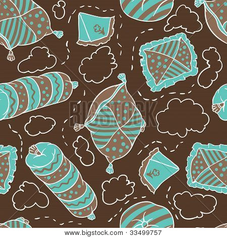 Seamless pattern from pillows. Vector hand drawn illustration.