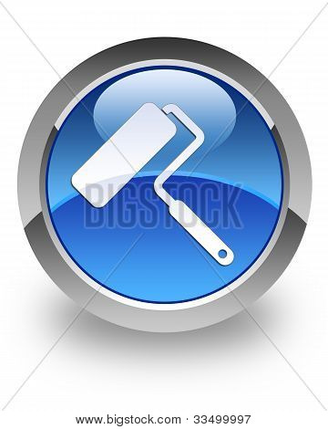 Paint roller glossy icon