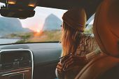 Woman On Road Trip Traveling By Rental Car Relaxing With Coffee Cup Adventure Lifestyle Vacations Vi poster