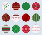 Magic, Colorful Christmas Balls Stickers Isolated On Gray Background. High Quality Vector Set Of Chr poster
