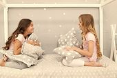 Sleepover Party Ideas. Girls Happy Best Friends Or Siblings In Cute Stylish Pajamas With Pillows Sle poster