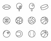 Sport Balls Outline Vector Icons Set Isolated On White Background. Sport Recreation Concept. Sport B poster