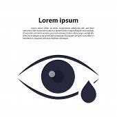 Eye Drop Line Icon. Eye Care Vector Logo Design. Eye With Tear Vector Illustration. Eye With Drop Ou poster
