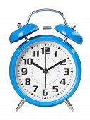 Blue Retro Alarm Clock, With A Large Dial, Isolated On White Background. The Concept Of Time, Delay, poster