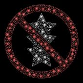 Glossy Mesh No Rating Stars With Glow Effect. Abstract Illuminated Model Of No Rating Stars Icon. Sh poster