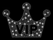 Flare Mesh Vip Crown With Sparkle Effect. Abstract Illuminated Model Of Vip Crown Icon. Shiny Wire F poster