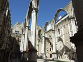 picture of carmelite  - Old Carmo Church ruins in Lisbon Portugal - JPG