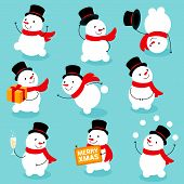 Flat Design Ready For Animation Collection Of Funny Christmas Snowman Poses An Actions. Vector Set O poster