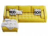 Scandinavian Corner Yellow Velvet Upholstery Sofa With Chaise Lounge. 3D Render. poster