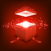 Open Gift Box With Blue Red Light, Festival And Celebration, Red Box, Christmas Object poster