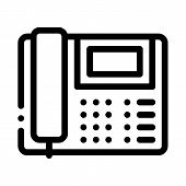 Home Telephone Icon Vector. Outline Home Telephone Sign. Isolated Contour Symbol Illustration poster