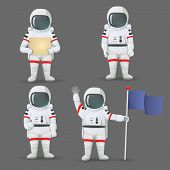Set Of Astronauts Standing With Different Gestures: Giving Thumbs Up, Holding Sign, Flag, And Waving poster