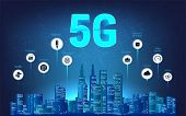 5g Wireless Internet Wi-fi Connection. Modern City Skyline And 5g Internet With Aspects Of Benefits. poster