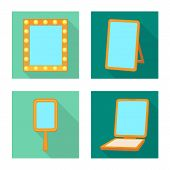 Isolated Object Of Reflect And Piece Symbol. Set Of Reflect And Furniture Vector Icon For Stock. poster