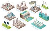 Alternative Energy And Power Plants And Green Electric Energy Generation Stations, Vector Isometric  poster