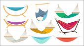 Hammock. Relax Time In Outdoor Decorative Colorful Fabric Hammock Hanging Swing Comfortable Rest Pla poster