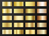 Gold And Bronze Gradients Vector Mega Set. Metallic Gold Foil Texture Gradient Swatch Templates. Shi poster