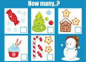 Mathematic Educational Children Game, Kids Activity. Counting Objects. New Year And Christmas Theme  poster