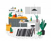 Scandinavian Or Nordic Style Kitchen Interior. Hand Drawing Scandinavian, Style Cozy Interior With H poster