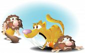 stock photo of saber-toothed  - a caveman lying on the ground with a growling saber - JPG