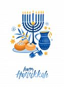 Hanukkah Symbols Flat Vector Illustration. Traditional Jewish Holiday Greeting Card Design With Happ poster