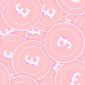 British Pound Copper Coins Seamless Pattern. Eminent Scattered Pink Gbp Coins. Success Concept. Unit poster