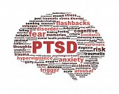 image of aroused  - PTSD symbol with a brain outline isolated on white background - JPG