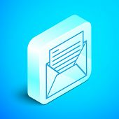 Isometric Line Mail And E-mail Icon Isolated On Blue Background. Envelope Symbol E-mail. Email Messa poster