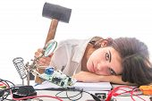 Woman Repairing Computer Part, Problems Concept, Service Center Problems. Electronics Repair Service poster