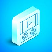 Isometric Line Portable Video Game Console Icon Isolated On Blue Background. Gamepad Sign. Gaming Co poster